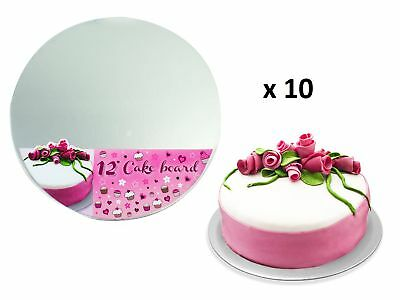 """Round Silver 12"""" Cake Boards 3mm Thick Boards Cake Decorating Making Baking x10"""