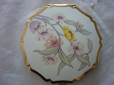 Vintage Signed Stratton GoldTone Metal & Enamel Pastels Mirror/Powder Compact