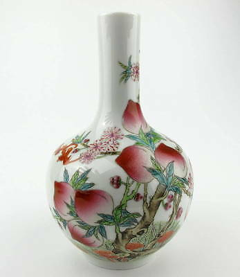 Chinese 'famille-rose' 'nine peach' vase. Qing dynasty. 20th century