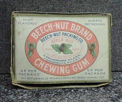 Beech Nut Brand Mint Flavored Chewing Gum Box 5 Cent Box 1920's - 30s