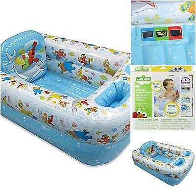 Disney Infant Baby Bath Tub Inflatable Safety Seat Elmo's World Blue White Color