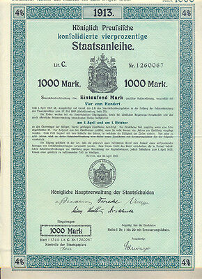 Preussen Staatsanleihe 1000 Mark 1913 mit Coupons