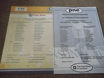 Blackburn Rovers V Preston North End Reserves Programme Collection 1990 's