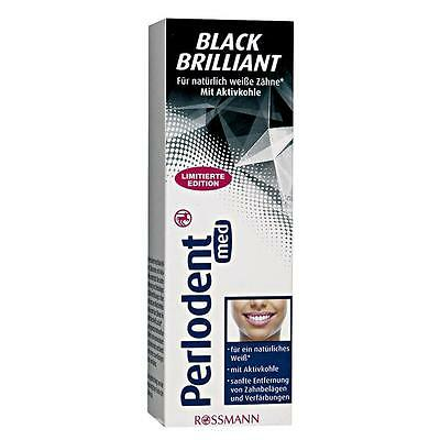 2x Perlodent med Brilliant Black Charcoal toothpaste 75ml Teeth Whitening