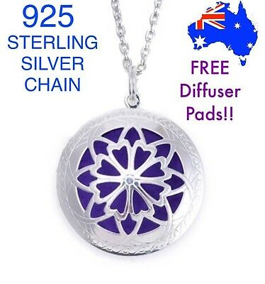 Aromatherapy Essential Oil Diffuser Locket Pendant 925 Sterling Silver Necklace