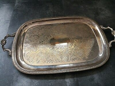 Large Silver Plated tray with handles