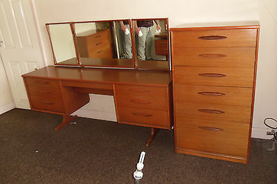 austinsuite retro  dressing table and 2 x chest of drawers