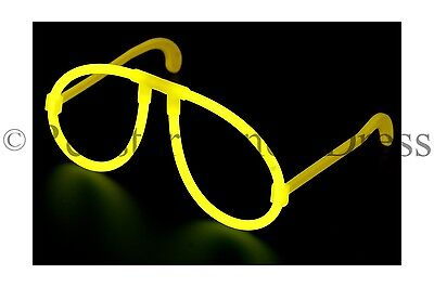 Glow In The Dark Glasses Yellow Neon Glow Stick Hen Party Festival Fancy Dress