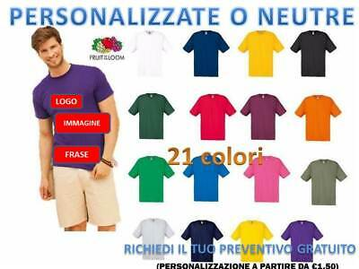 Maglietta Manica Corta Uomo Fruit Of The Loom  T-Shirt Personalizzabile