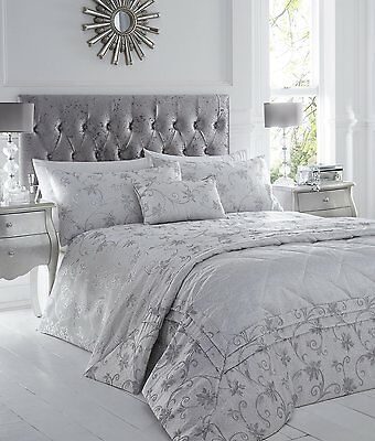 Silver Grey Stylish Floral Jacquard Duvet Cover Luxury Beautiful Glamour Bedding