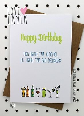 Greeting Card Birthday Card/Comedy/Novelty/Funny/Humour/Love Layla Australia/D20