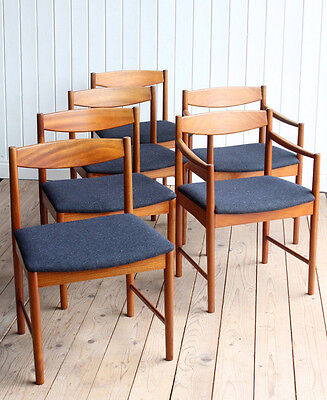 Vintage Retro McIntosh Set of 6 Teak Newly Upholstered Dining Chairs Mid Century