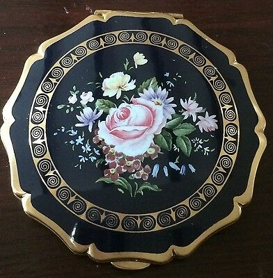 Vintage Stratton Scallop Edged Flower Rose Black Compact Never Used