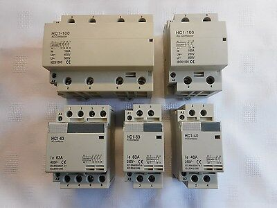 Installation Contactor Din Rail Monted 40, 63, 100 Amp 2, 4 Pole 230, 400 Volt
