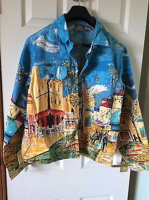 Cotton Denim Type Jacket With Bright Picture Pattern