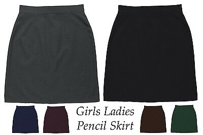 """2495-3 Office School Stretch Pencil Skirt 22/"""" Smart Casual Brown 6-18 ICE"""