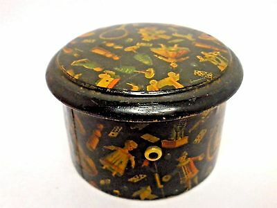 Antique Thread Holder Lacquered Sewing Box Etui Toy Design Treenware