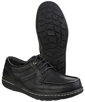 Men's Hush Puppies Vines Victory Black Leather Shoes UK 6 - 13 Dual Fitting