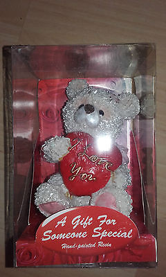Job Lot X 12 Hand Painted Resin Gift Bears With I Love You Heart 5 Inches Boxed