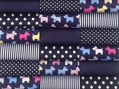 """fabric patchwork squares 30 X  4"""" 10cm cotton quilting craft Navy blue dogs 6G"""