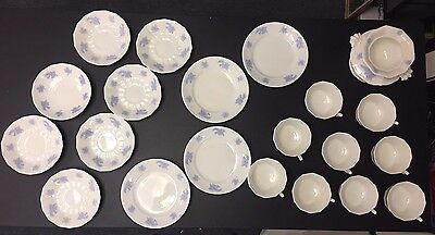 21 Pcs. English Adderley ? Thistle  Misc. White Blue Lavender Purple Embossed