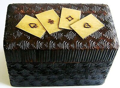 Antique Hand Carved Card Case / Box with four cards on top and box wood interior
