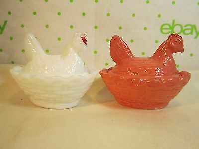 2  Westmoreland Glass Hen in a Nest Covered Salt Painted Green & Milk Glass