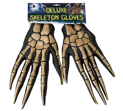 Deluxe Skeleton Bone Adult Costume Gloves One Size