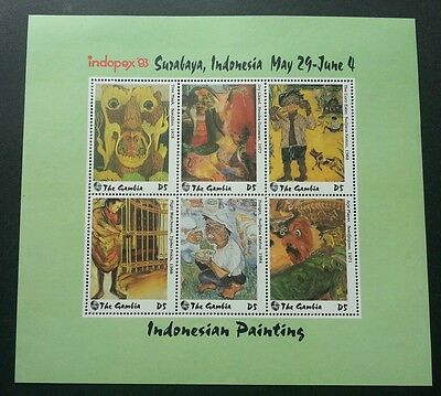 Gambia Indonesian Painting 1993 Art Culture (ms) MNH Indopex '93 Expo