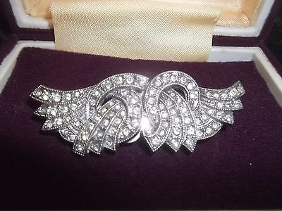 Beautiful Vintage Solid Silver Angel Wing Duette Brooch / Fur Clips 20's / 30's