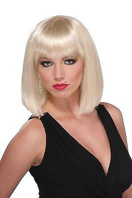 Short Blunt Cut Blonde Adult Female Costume Wig With Bangs One Size