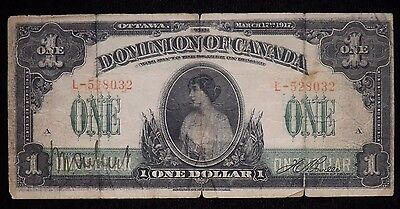 1917 One Dollar Canada Paper Note  Heavily Circulated