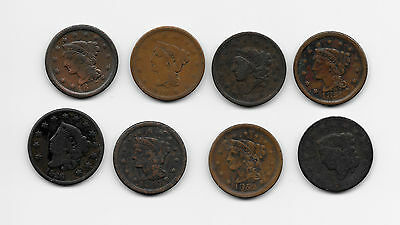Lot Of 8 Large Cents - 1847 1847 1840 1826 1852 1851 1837 1831 - Take A Look