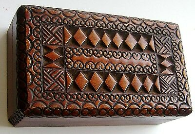 Victorian or Edwardian Hand Carved  Wooden Stamp Box. Boxwood or Cedar interior.