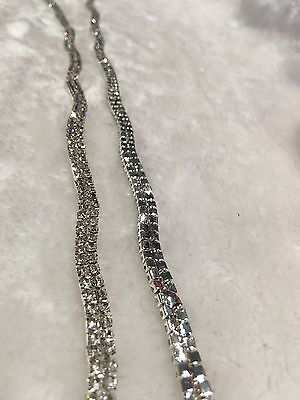 Half Meter 2-Row Clear Crystal Rhinestone Trims Close Chain Silver DIY Curve