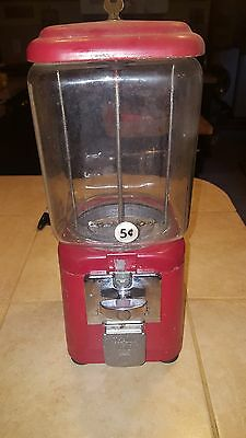 Vintage Red Oak Gumball Machine w/ 1cent & 5 cent