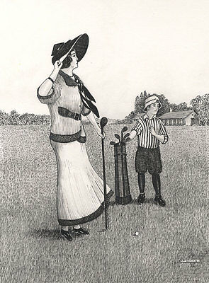 J.A. Gowing - Contemporary Pen and Ink Drawing, Madam & Caddy