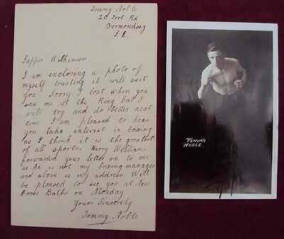 Tommy Noble World Champion 1916 Signed Photo Postcard & Candid Signed Letter