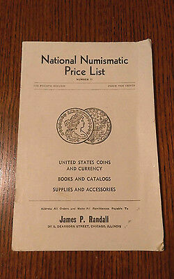 VINTAGE National Numismatic Price List, 1941, James P Randall, Coins, Currencies
