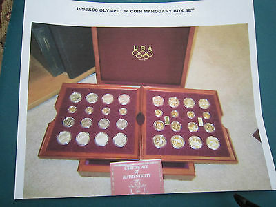 1995-1996 32 Coin Us Mint Commemorative Olympic Set