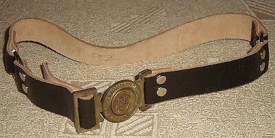 Greece Greek Boy Scouts vintage leather belt No70 brass buckle Phoenix emblem