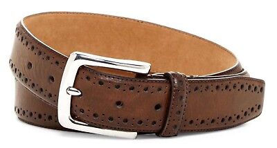 Cole Haan Men's Belt Perforated Trim Dress Belt In Chocolate Brown New W/Tags