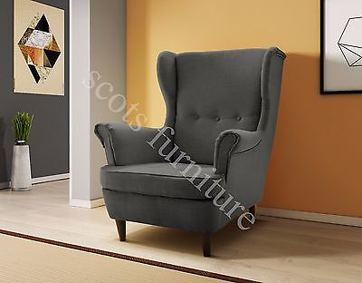 New Large Wing High Back Queen Anne Style Chair Grey or Beige Fabric Armchair