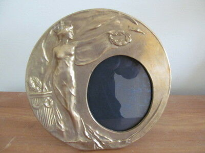 Large Vintage Brass Art Nouveau Death Penny Plaque Photo Frame