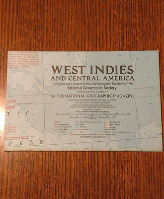 *NEW* VINTAGE National Geographic Map, West Indies Central America, January 1970