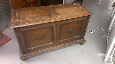 antique carved oak blanket box , chest, toy box