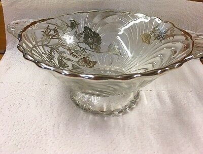 Vintage Art  Silver Glass Footed Centerpiece Bowl Silver Trim w/Handles