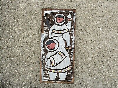 Vintage Mid-Century Retro Chip Carved Painted Wall Art of Eskimos