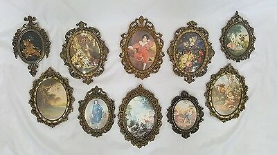 Lot of 10 Vintage Ornate Filagree Oval Brass Metal Picture Frames Made in Italy