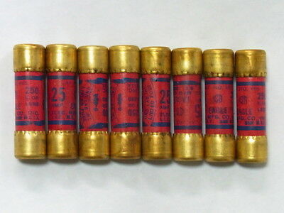 8 Eagle 25 Amp  250 Volt Cartridge Fuses